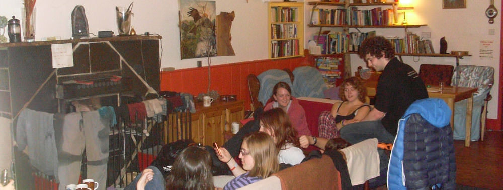 Saturday night at Corris Hostel