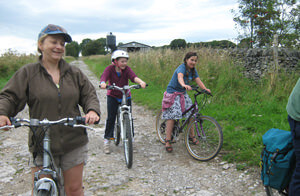 Cycling on the High Peak Trail in the Derbyshire Dales.