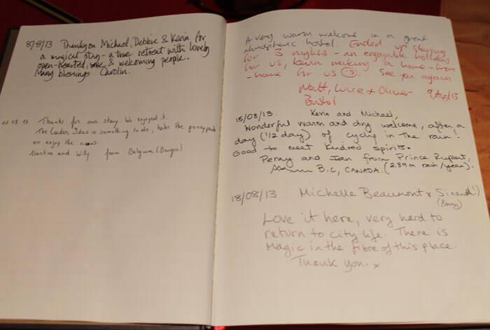 Guestbook at Corris old youth hostel