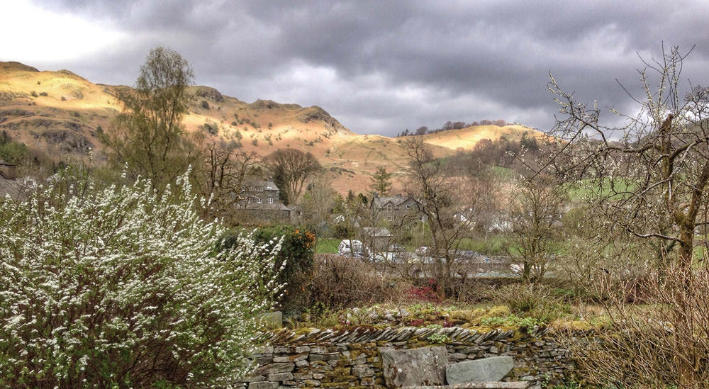 View from Elterwater Hostel in the Langdale Valley