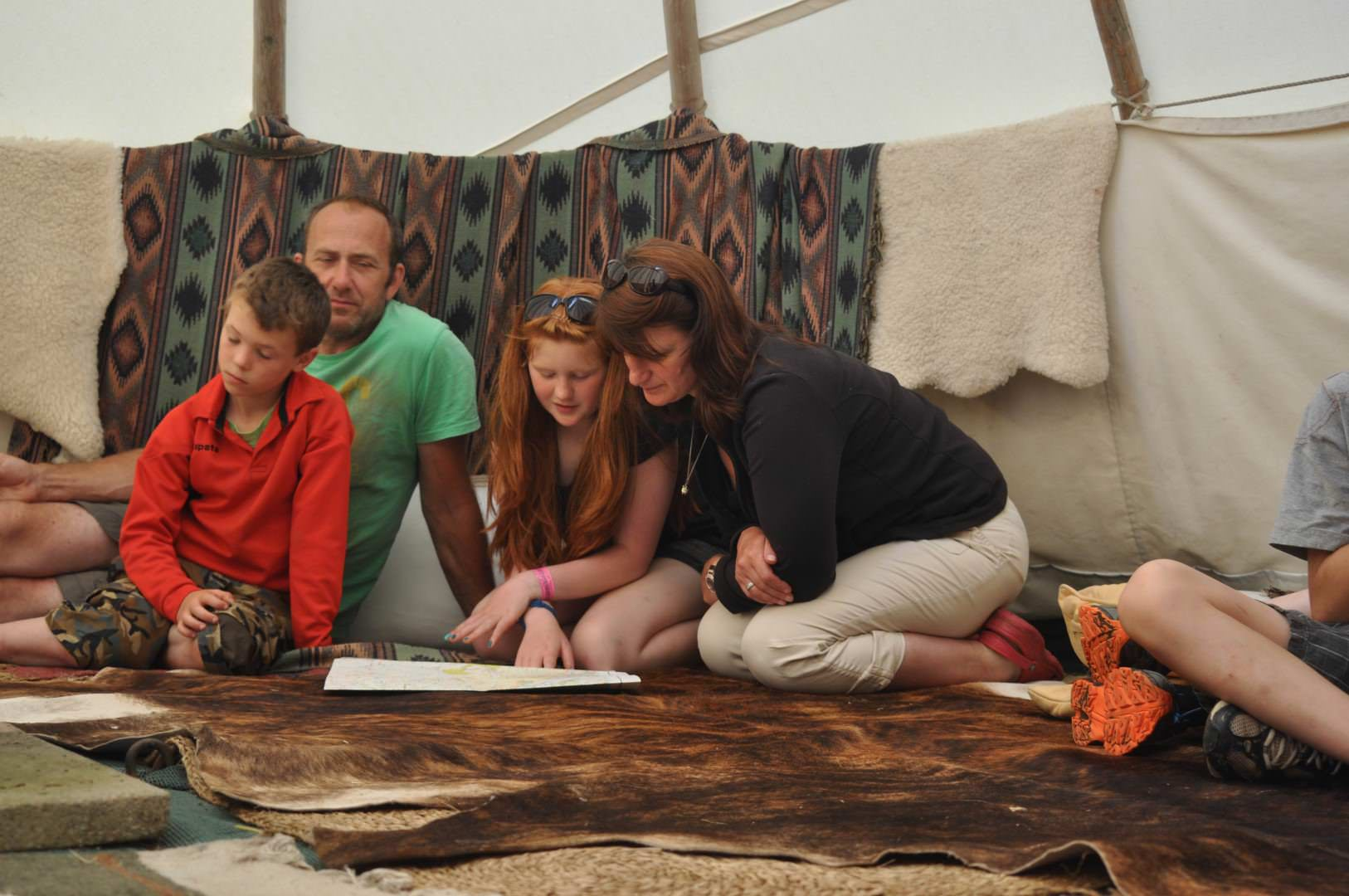 Tipi group planning their activities