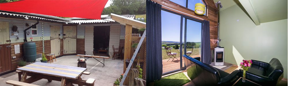 Left: Edens Yard. Right: Tarset Tor Bothy. Summer holidays available now.
