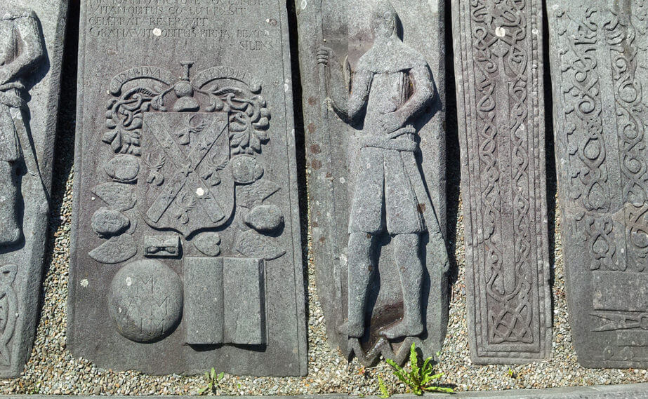 Grave slabs at Kilmartin Church near Torran Bay
