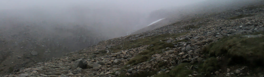 Peering through the mist on Ben Nevis