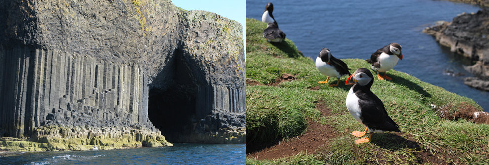 Fingal's Cave, Staffa. Puffins on Lunga in the Treshnish Islands