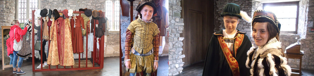 Dressing up at Oxwich Castle on the Gower Peninsular