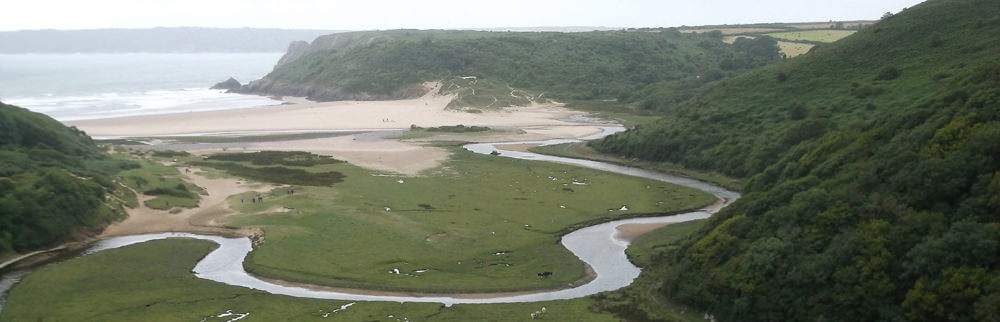 Three cliffs bay from Pennard castle on the Gower Peninsula