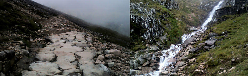 Waterfalls and a path throough the cloud on Ben Nevis