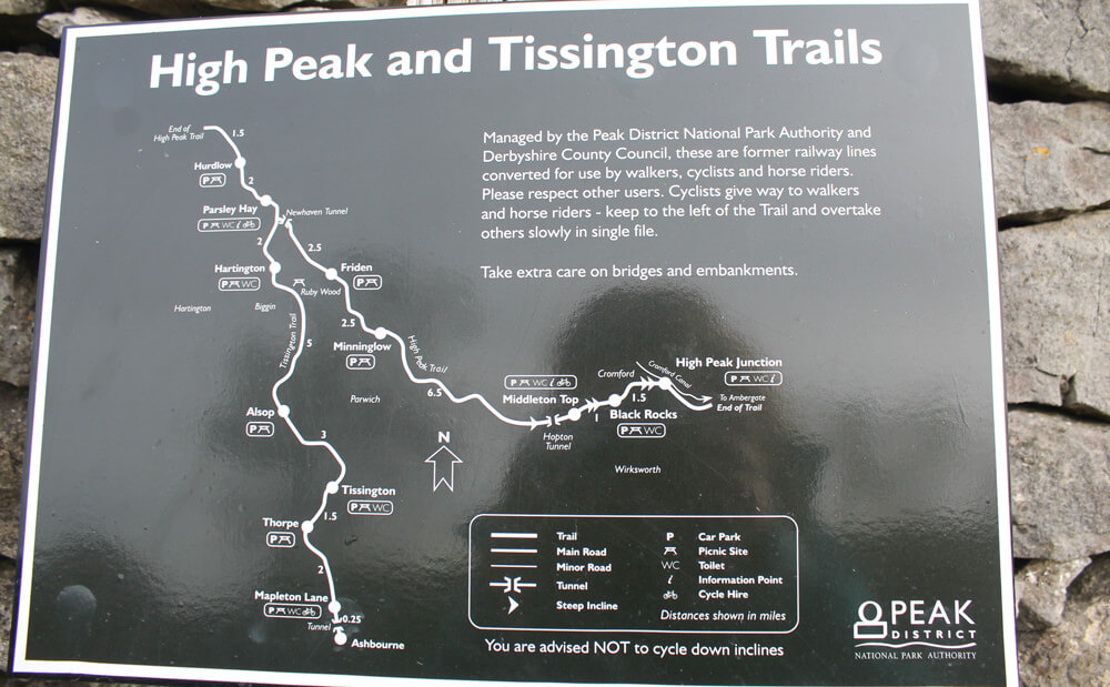 Peak District Trails: Map of High Peak Trail and Tissington Trail