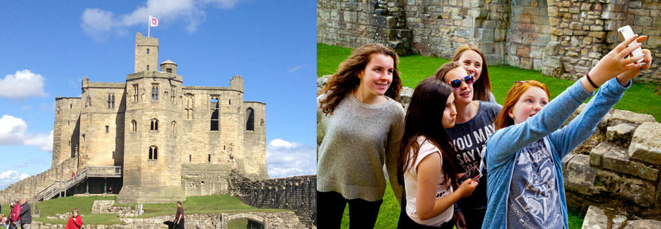 Selfies at Warkworth castle, Northumberland
