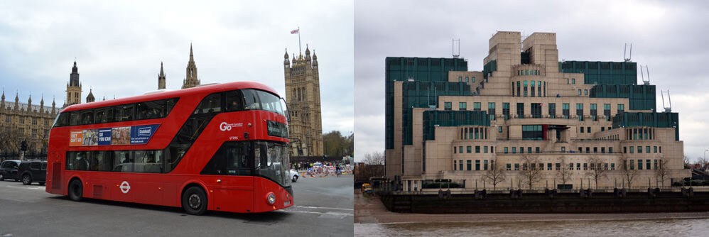 London on a Budget - London Bus and M16 Building