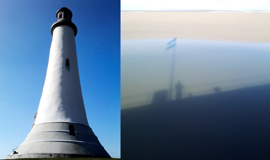 Sir John Barrow Monument in Ulverston and Owens reflection from Arnside village pier.