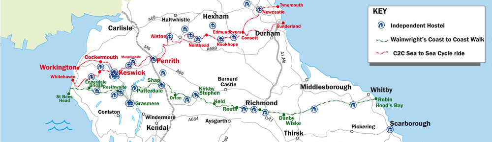 Wainwright's Coast to Coast Walk and C2C Sea to Sea cycle route