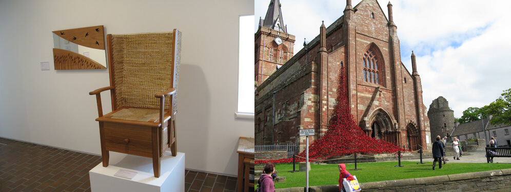 Hand made Orkney Chair and St Magnus Cathedral at Kirkwall