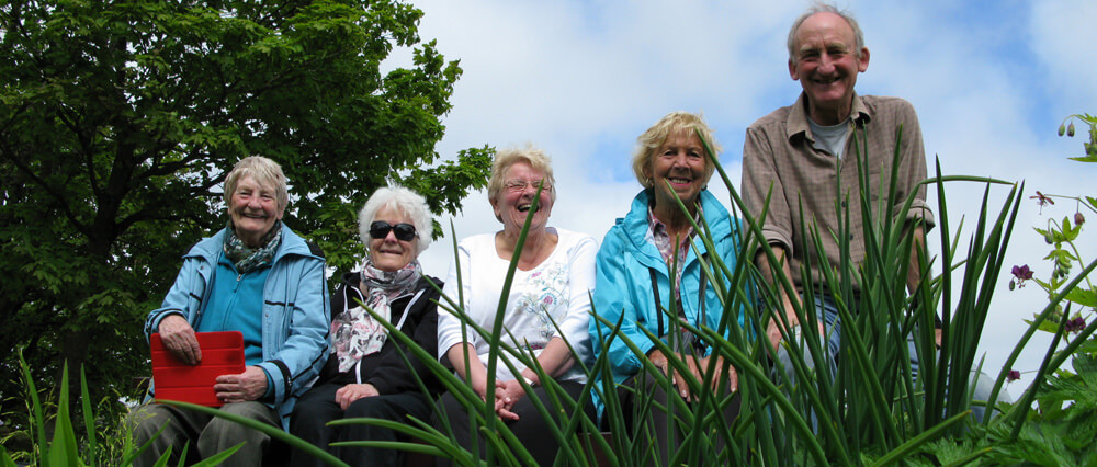Gardens walker group well pleased with the gardens at Finnstown Orkney