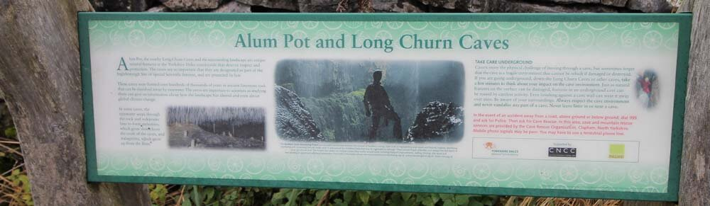 Long Churn Cave and Alum Pot sign in the Yorkshire Dales