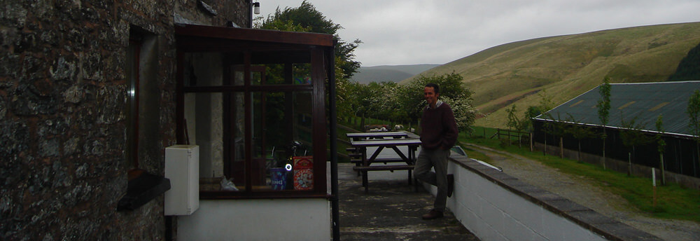 Bob outside Ty'n Cornel Hostel in 2006