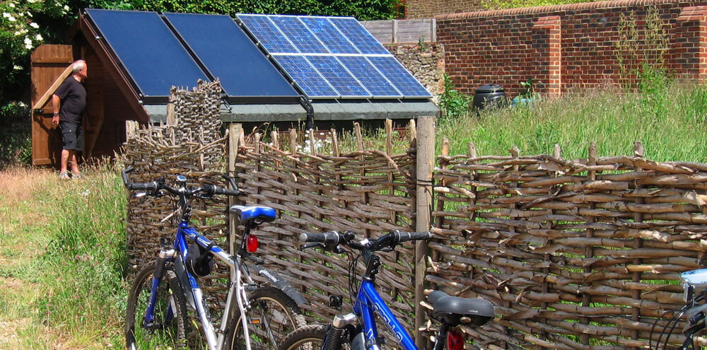 Solar energy capture on the bike shed at Puttenham Eco Camping Barn