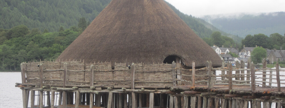 Crannog at Kenmore, stone age hut on the Rob Roy Way