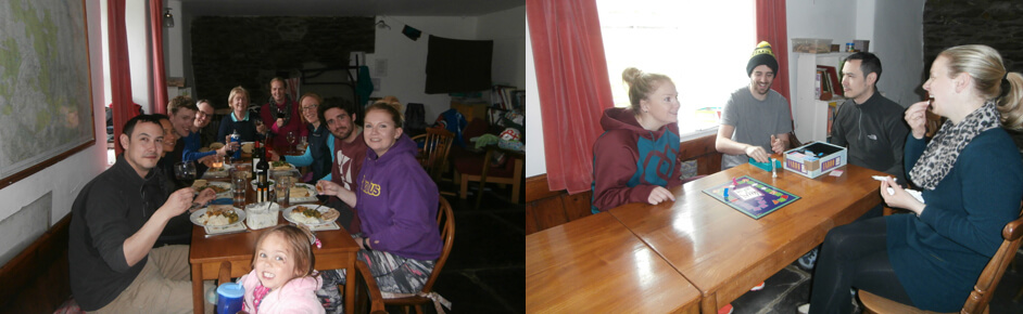Family meal and games at Dolgoch Hostel