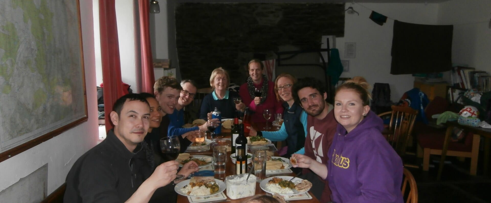 Family Meal at Dolgoch Hostel