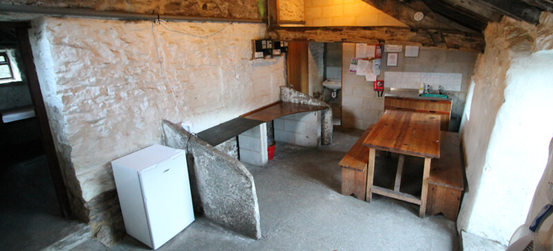 Typical camping barn or bothy cooking area