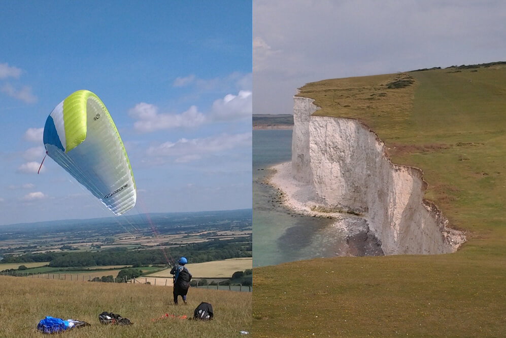 Hang Gliding on the North Downs and the White Cliffs of Dover on the South Downs
