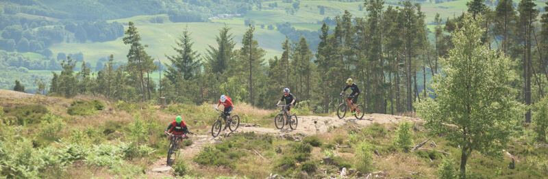 mountain biking at Comrie Croft hostel in Scotland