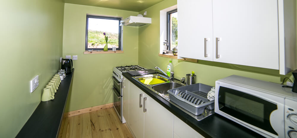 self catering kitchen at tarset tor bothy