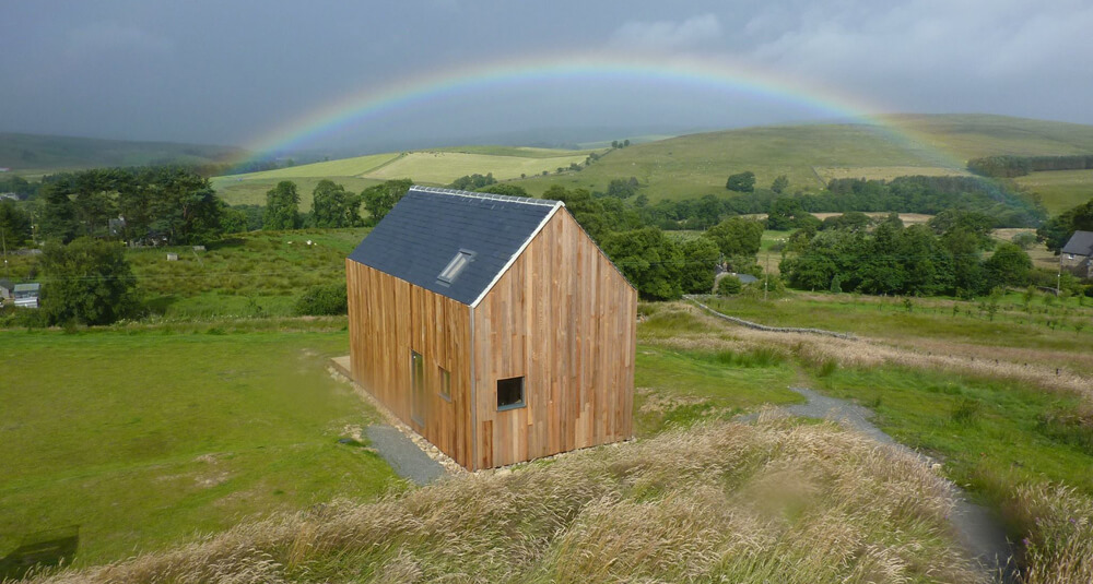 Bothy at Tarset Tor with Rainbow
