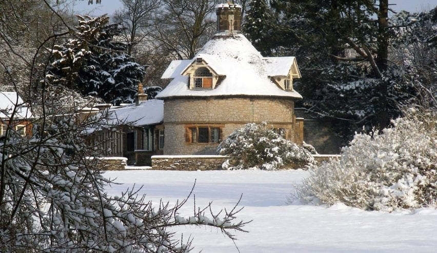 snow on the accommodation at thornbridge hall