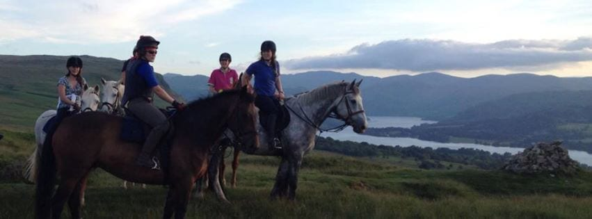 Enjoying the view! Riders savouring their riding holiday at Rooking House Camping Barn, near Ullswater