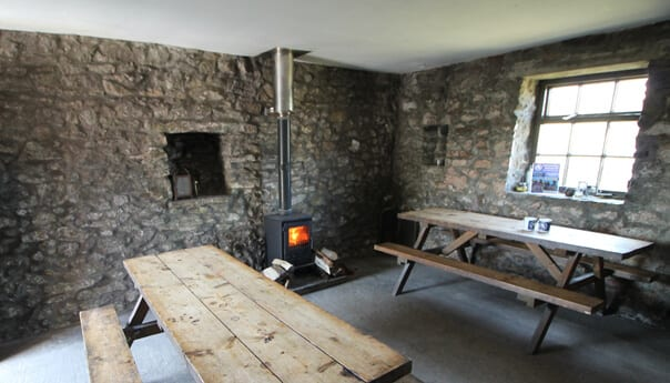 Camping barn with log burner