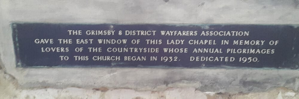 Dedication in the Ramblers Church at Walesby