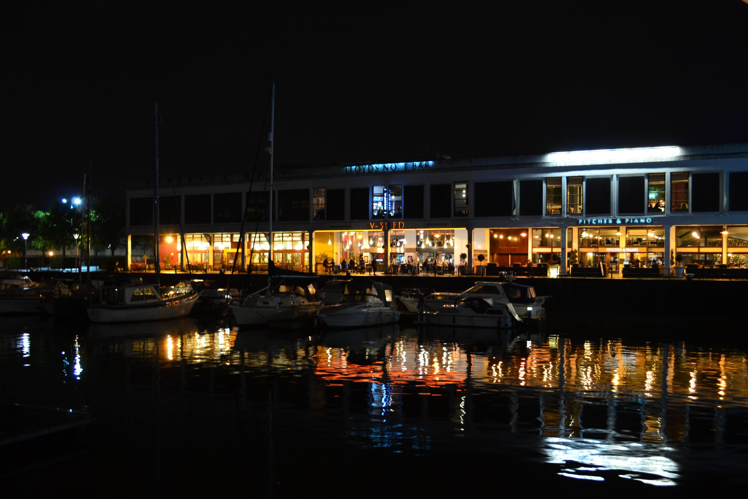 Bristol City Waterfront by night.