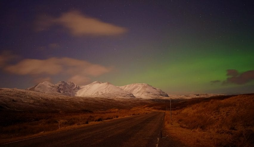 Northern lights over An Teallach close to Forest Way Bunkhouse