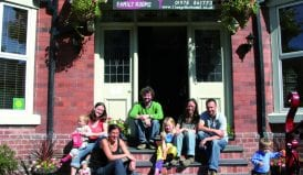 Family group at Llangollen Hostel where wales welcomes the world