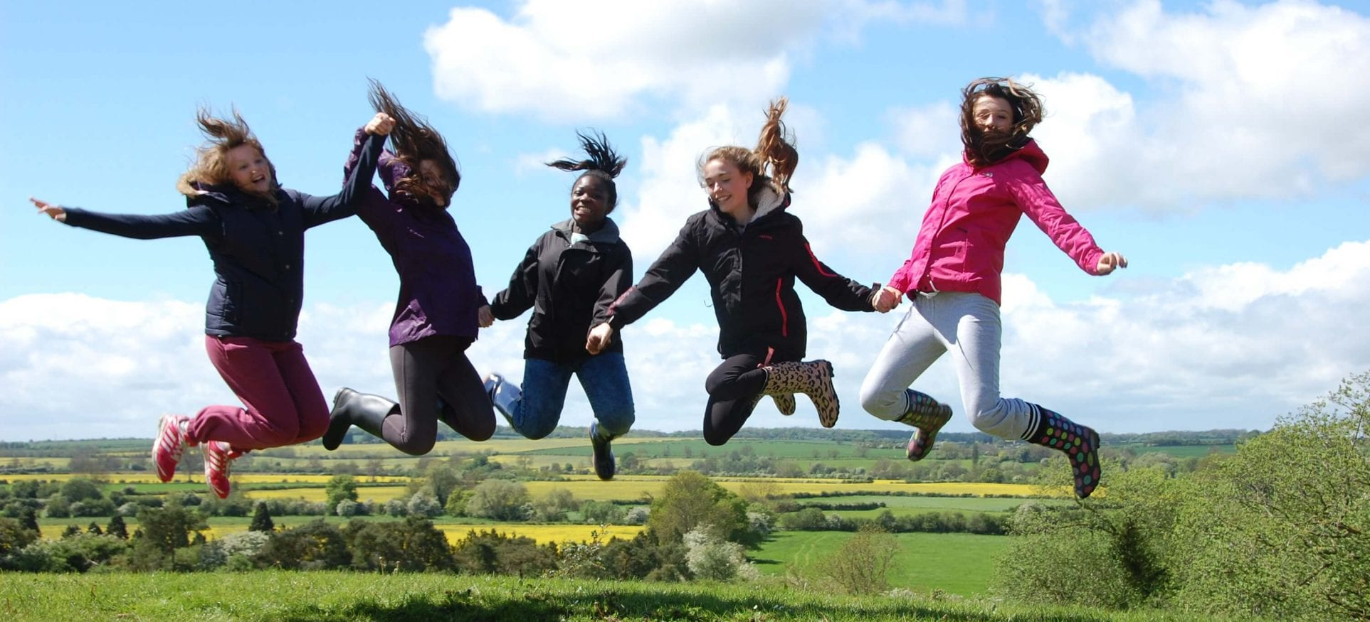 Girls jumping at the Chellington Centre in Bedfordshire