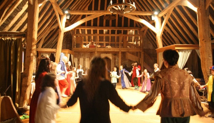 Tudor dancing in historic Tudor Barn Hostel at Milden Hall, nr Lavenham, Suffolk