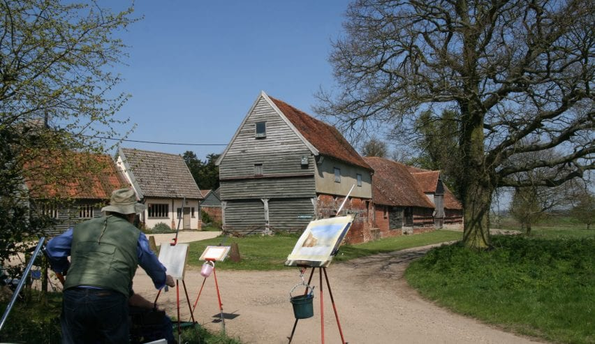 Artists at historic Tudor Barn Hostel at Milden Hall, nr Lavenham, Suffolk