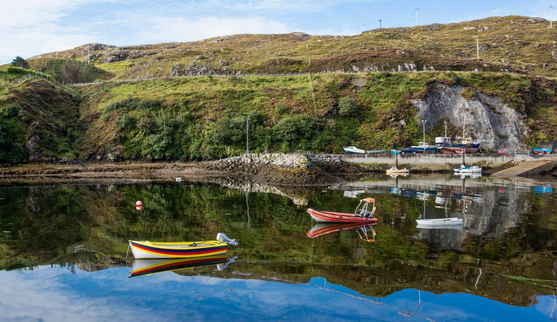Boats and beach on the Isle of Harris