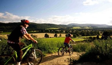 family bike riding at comrie croft holidays