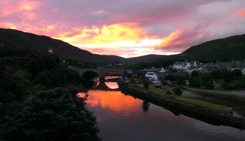 helmsdale hostel with Autumn sunset