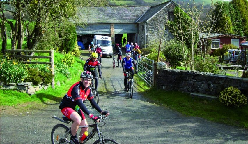 Cyclists at Beili Neuadd Bunkhouse in Mid Wales