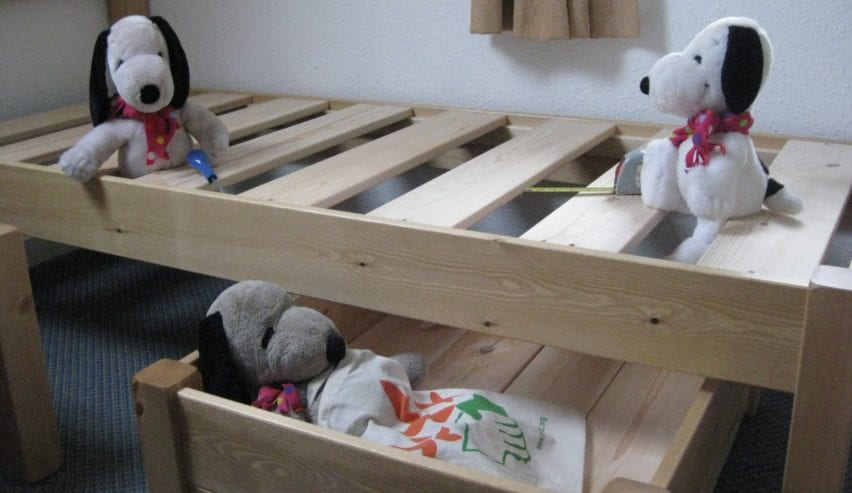 snoopys building beds at Kirk Yetholm Hostel