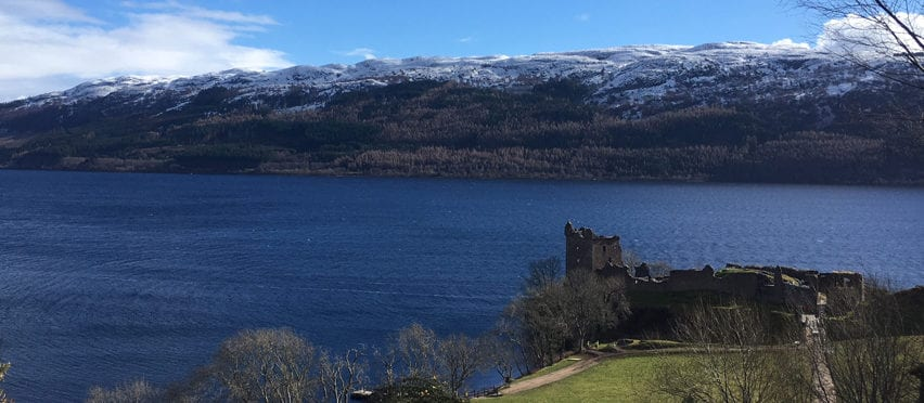 Urquhart Castle on the shores of Loch Ness adn close to Loch Ness Backpackers Hostel