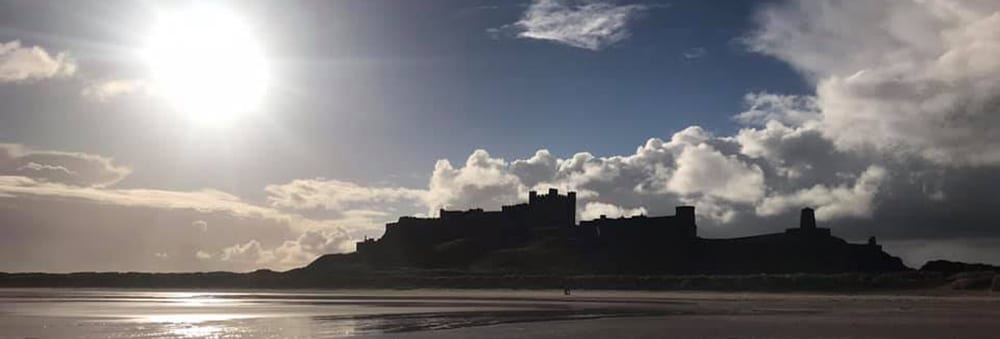 Bamburgh Castle close to Seahouses Hostel on the Northumberland Coast