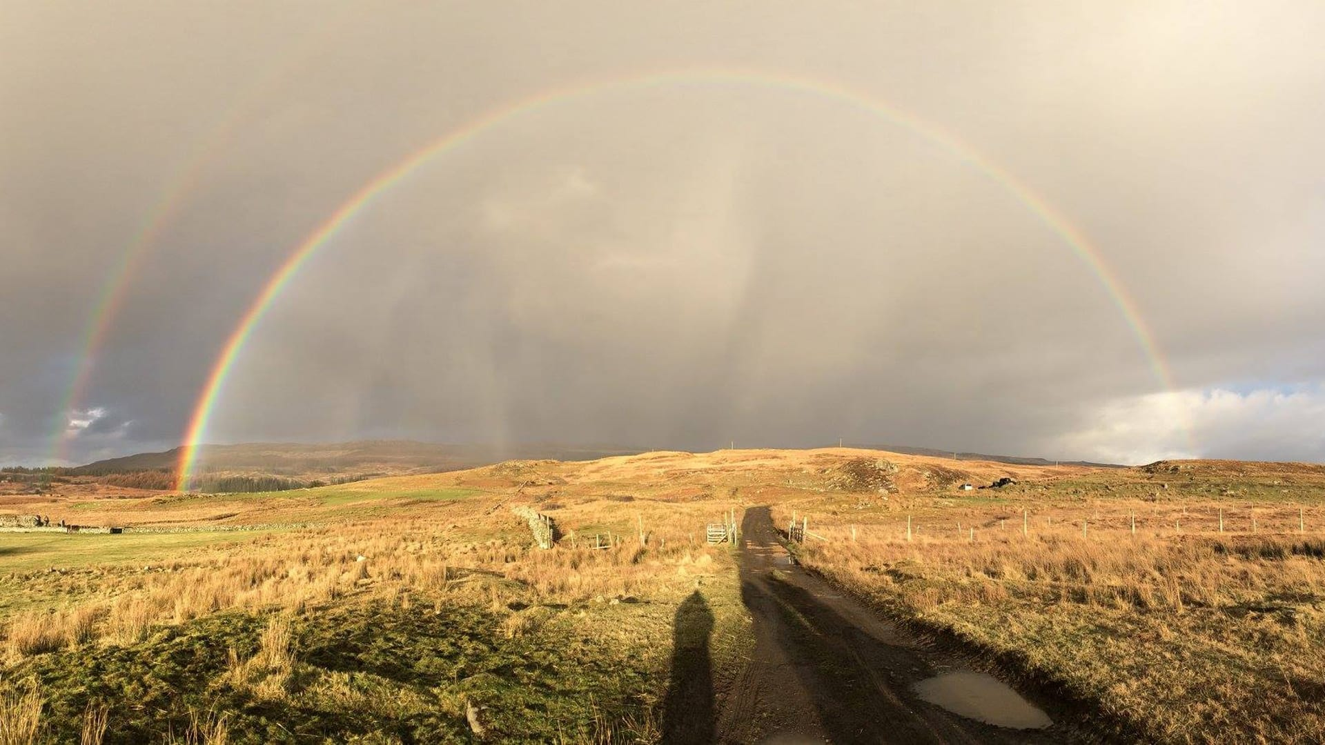 Double rainbow at Achaban House Hostel Isle of Mull