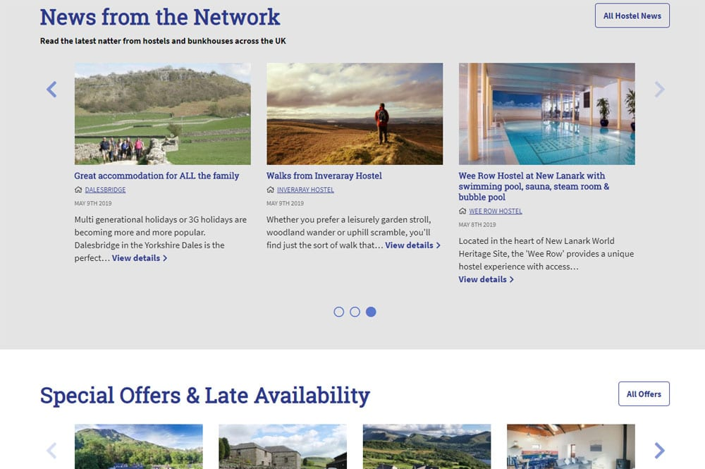 Natters on the homepage of Independent Hostels UK website