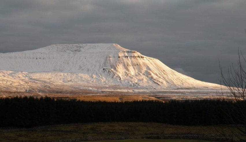 Ingleborough, one of the Yorkshire Three Peaks, the view from Broadrake Bunkbarn, Chapel-le-Dale